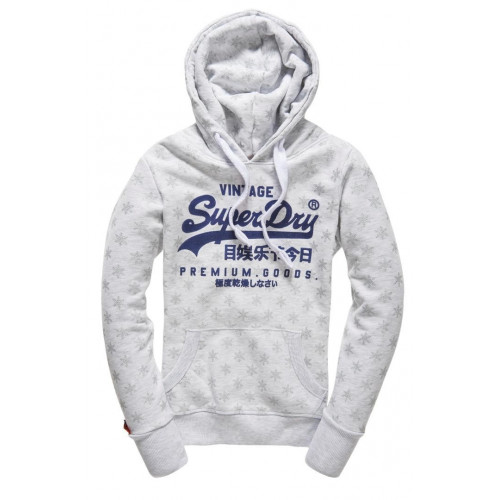 SWEAT A CAPUCHE SUPERDRY PREMIUM GOODS AOP HOOD ICE MARL
