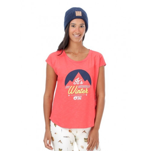 T-SHIRT PICTURE ORGANIC PANSY CORAL