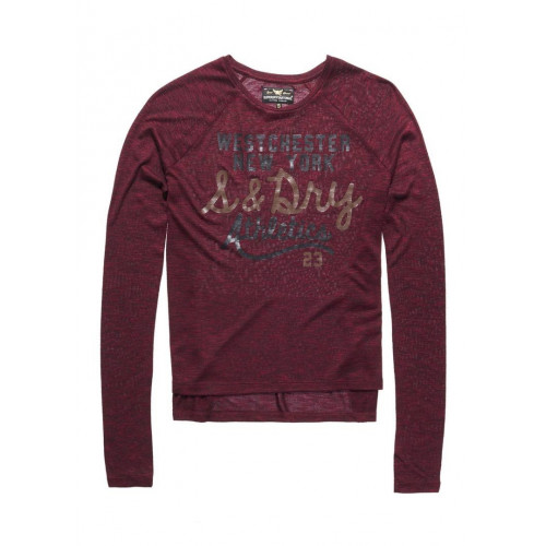 T-SHIRT SUPERDRY SLUBBY KNIT GRAPHIC TOP RICH BERRY