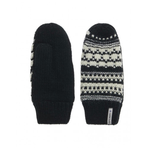 GANTS SUPERDRY NORDIC PATTERN MITTEN BLACK CREAM