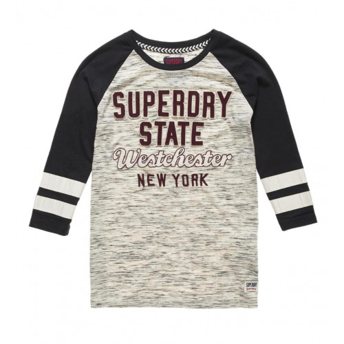 T-SHIRT SUPERDRY FOOTBALL APPLIQUE TOP CANYON GREY