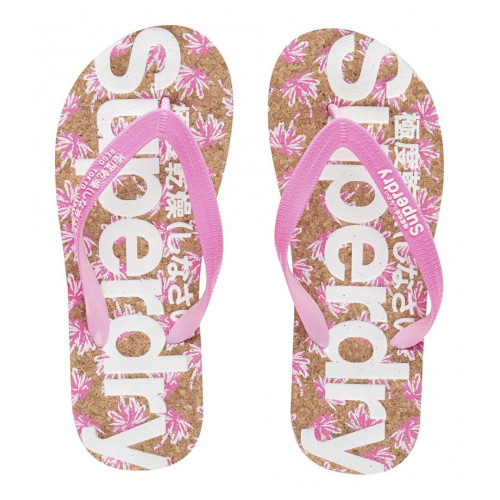 TONG SUPERDRY PRINTED CORK FLIP FLOP FLURO PALM PINK