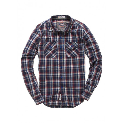 CHEMISE SUPERDRY WINTER WASHBASKET ECOSSE NAVY