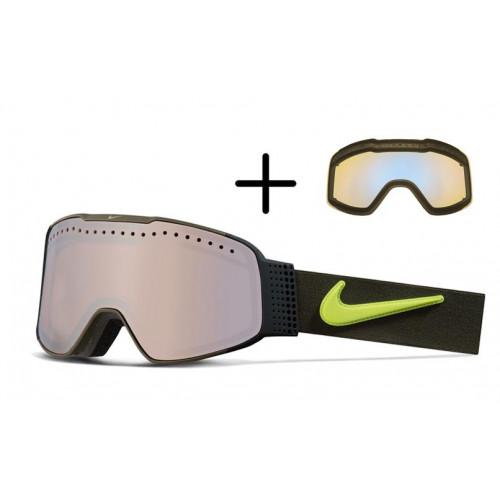 Masque de Ski Nike Fade Cargo Khaki Volt Silver Ion / Blue