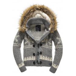 Pull Superdry Nordic Ski Hooded Toggle CardI Grey Marl Cream