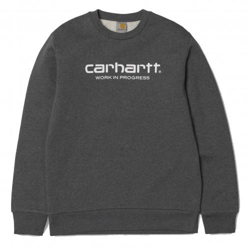 Sweat Carhartt Wip Script Dark Grey Heather White