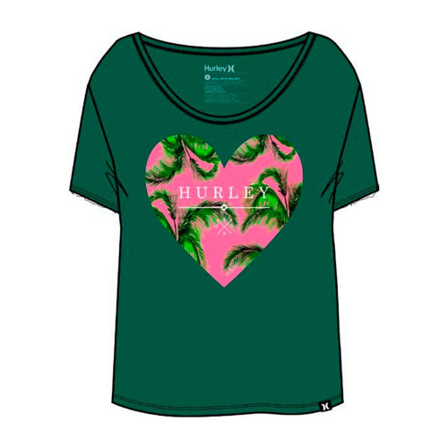 Shirt Hurley Love Me Bliss Easy Crew Green