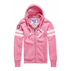 Sweat Superdry Track&Field Lite Ziphood Pink Sorbt
