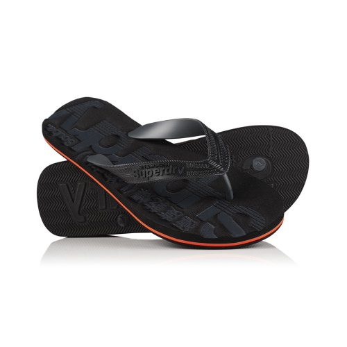 Tongs Superdry Scuba Flip Flop Black/Hazard Orange