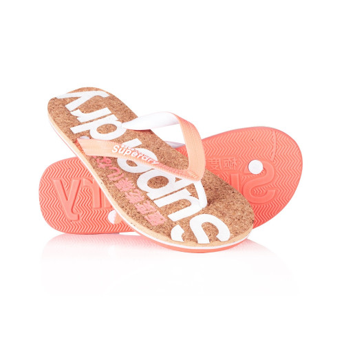 Tongs Superdry Cork Colour Flip Flop Fluro Coral
