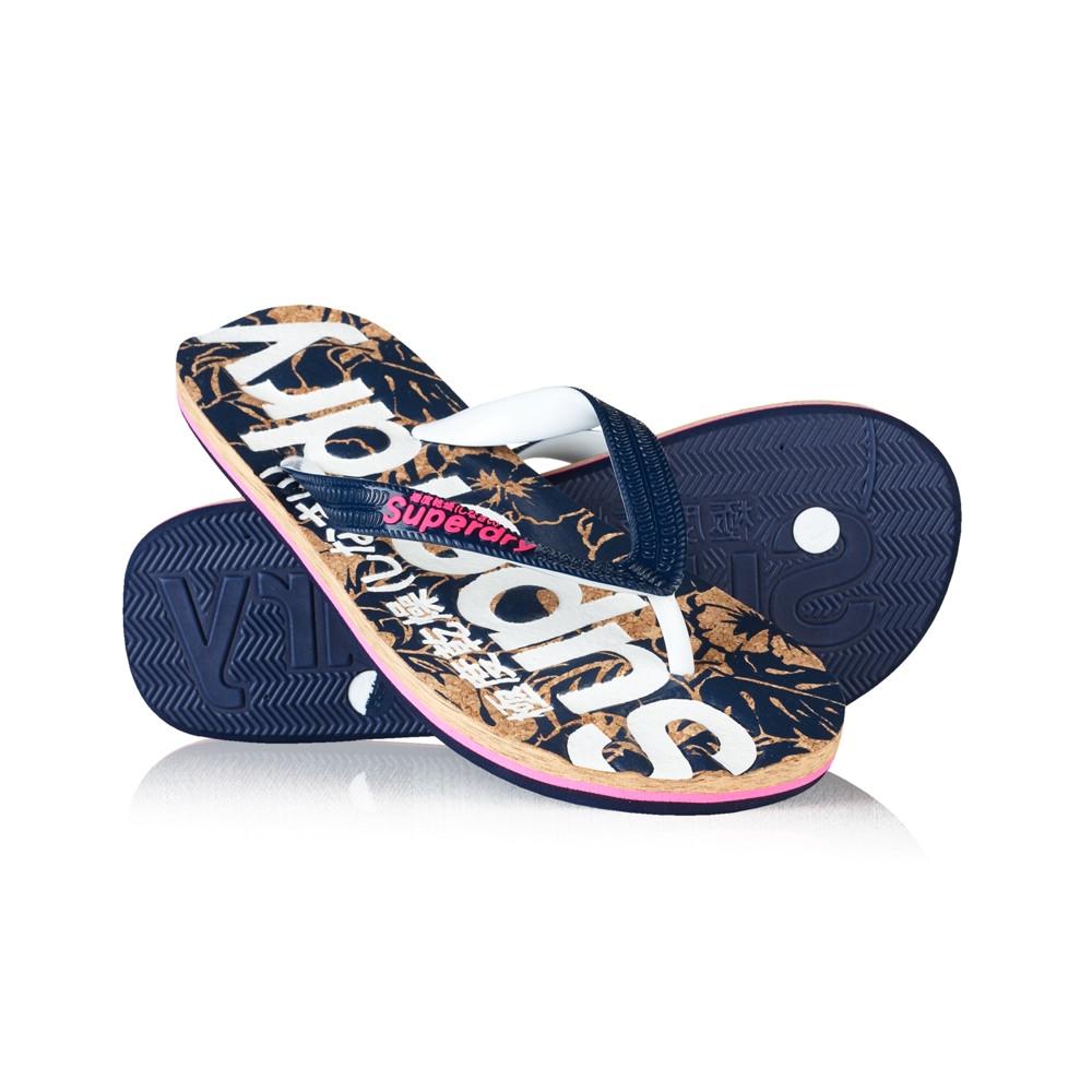 Superdry Printed Cork Flip Flop Womens Footwear Sandals Magenta Dark Navy
