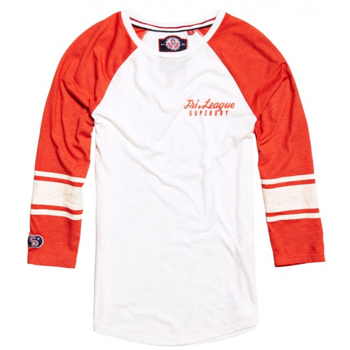 T-shirt Superdry Tri League Baseball Off White/Red