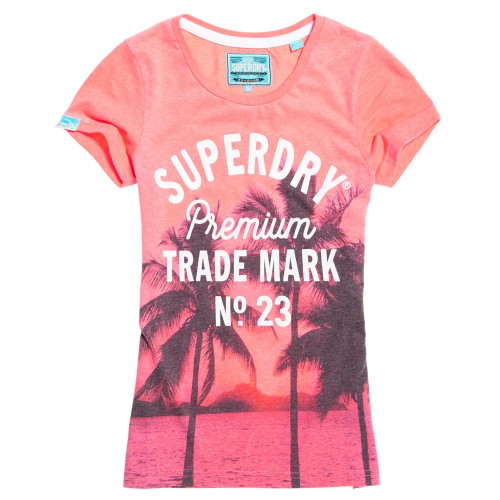 T-shirt Superdry Photographic Entry Pink Neon Marl