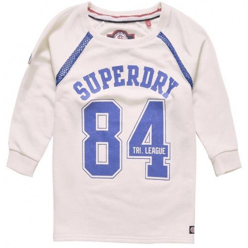 Sweat Superdry Tri League Crop Crew Off White