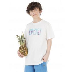 Tee-shirt Picture Ogrnaic Aloha White