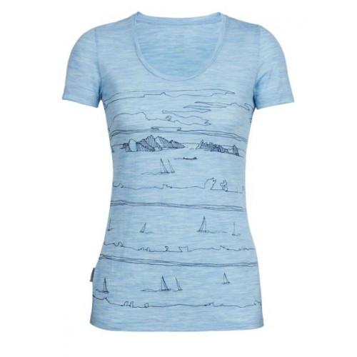 T-shirt Icebreaker Tech Lite Scoop Porto Isle Blue