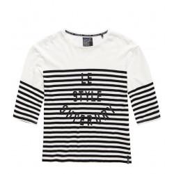 T-shirt Superdry Nordic Breton Tee Black/White