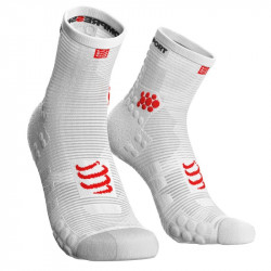Chaussettes Compressport Racing Socks V3 Run White