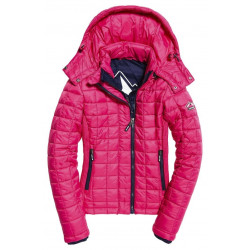 Doudoune Superdry Hooded Box Quilt Fuji Code Pink