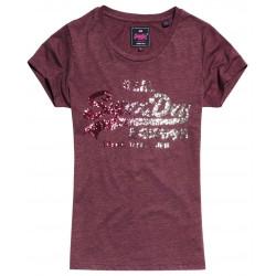 T-shirt Superdry Vintage Logo Sequin Entry Burgundy