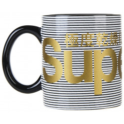 Tasse Superdry Super Logo Mug Black Stripe / Gold