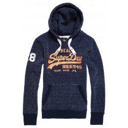 Sweat à Capuche Superdry Vinateg Logo Lurex Navy