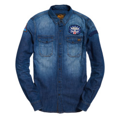 Chemise Superdry Dragway Patch Denim Freeway Blue