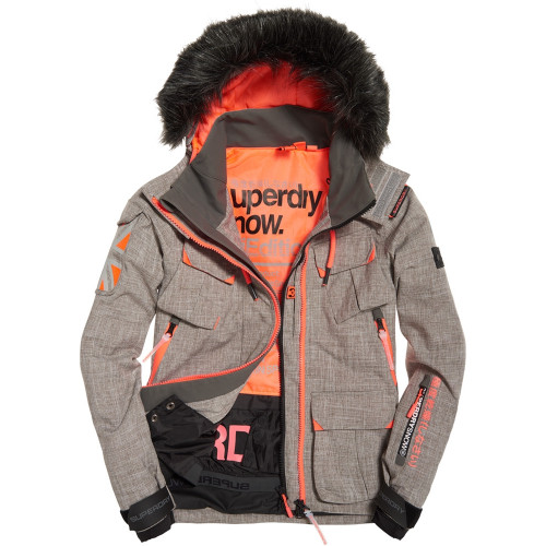 veste de ski superdry ultimate snow grey coral precision ski. Black Bedroom Furniture Sets. Home Design Ideas