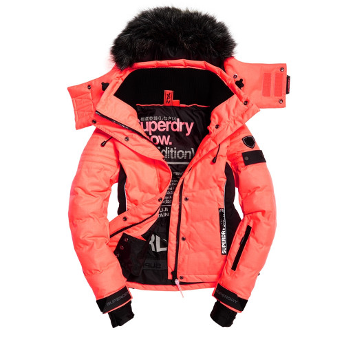 veste de ski superdry snow puffer coral black. Black Bedroom Furniture Sets. Home Design Ideas