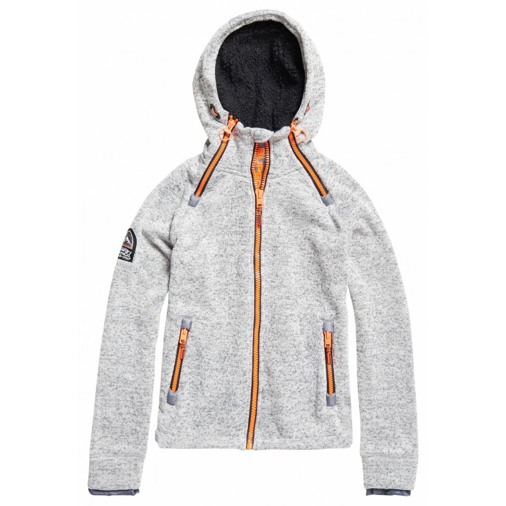 Sweat Has Hood Superdry Storm Double Ziphood Light Grey Grit by Precision Ski