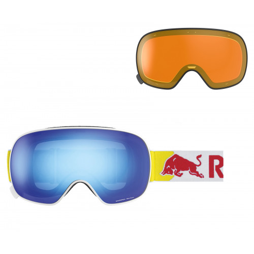Masque Red Bull Magnetron Shiny White Blue Snow