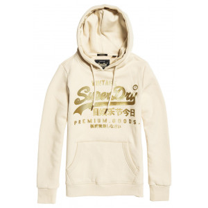 Sweat Superdry V Logo Premium Luxe Entry Hood White
