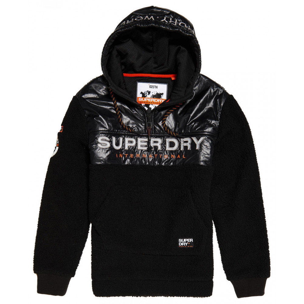 Polaire Superdry Sherpa Worldwide Stealth Half Ziphood Black par Precision Ski