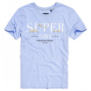 T shirt Superdry Serif Floral Embroidered Entry Blue Heron