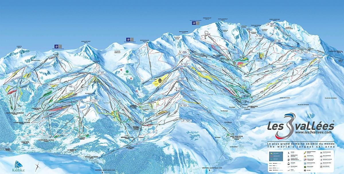 Plan des pistes de la station de Méribel